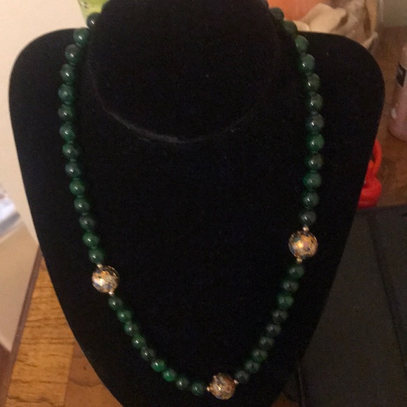 Vintage Jewelry - Vintage green gold inlay of colored bead
